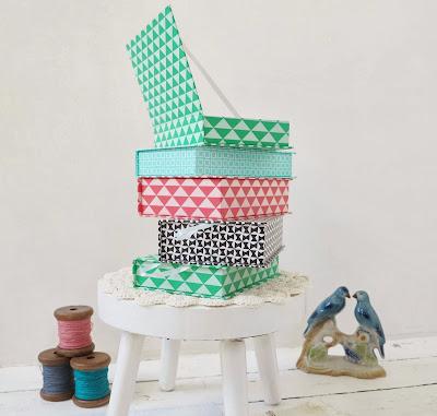 ByHaafner, pastel storage boxes for haberdashery, paper yarn