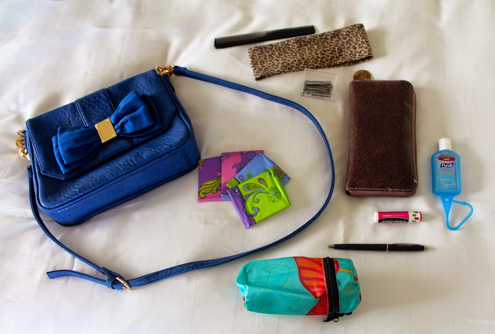 in my bag, blue bow bag, save the undies, U by Kotex, Capture Core