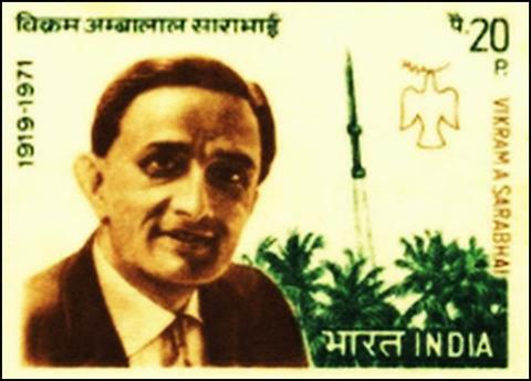 Indian Postal stamp featuring Vikram Sarabhai