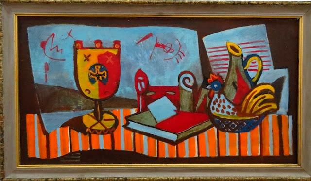 Роман Сельский, Натюрморт с подсвечником и фоном из голубых листов бумаги, 1970-е