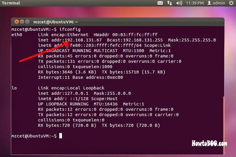 How to check IP Address in ubuntu 11.10 linux machine
