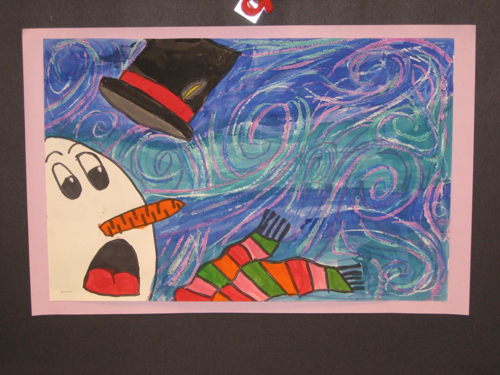 Jamestown elementary art blog 3rd grade van gogh snowmen for Crafts for 3rd graders
