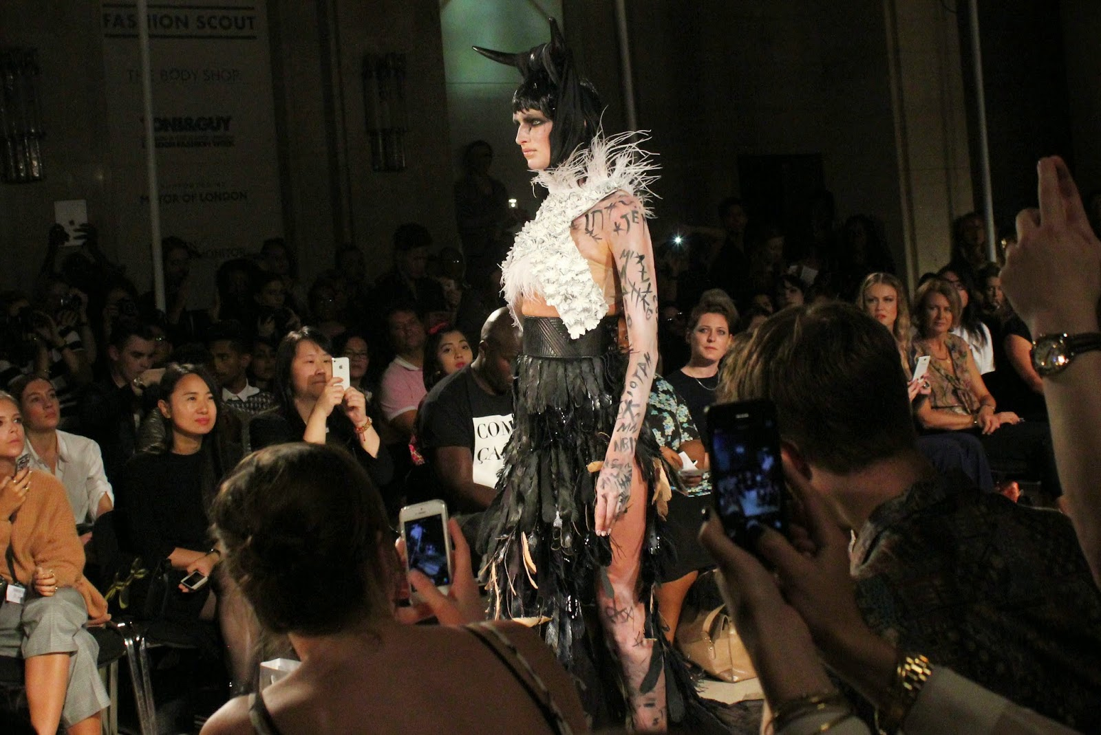 london-fashion-week-2014-lfw-spring-summer-2015-blogger-fashion-Dora-Abodi-catwalk-models-freemasons hall-fashion-scout-top-maxi-skirt-headdress-horns-body-art-feathers
