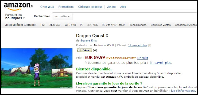Amazon France has posted a listing for the Wii U version of Dragon Quest X