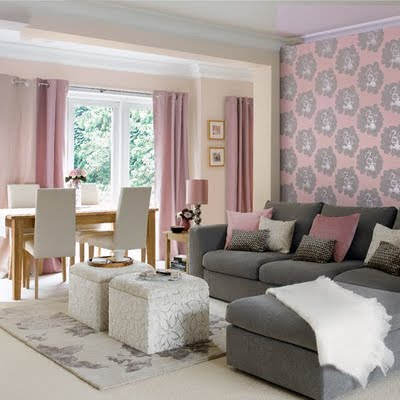 Secret ice pink and grey bedroom ideas for Grey living room inspiration