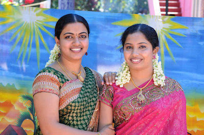 My North Indian aunties in attractive colored sarees.