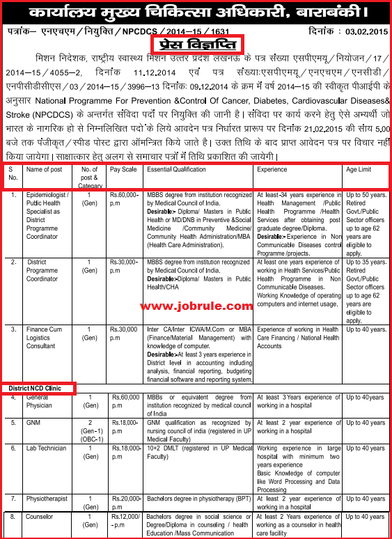 UP Barabanki District NHM NPCDCS Project Latest Medical Jobs Opening February 2015
