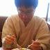 和装でパスタ食の練習!