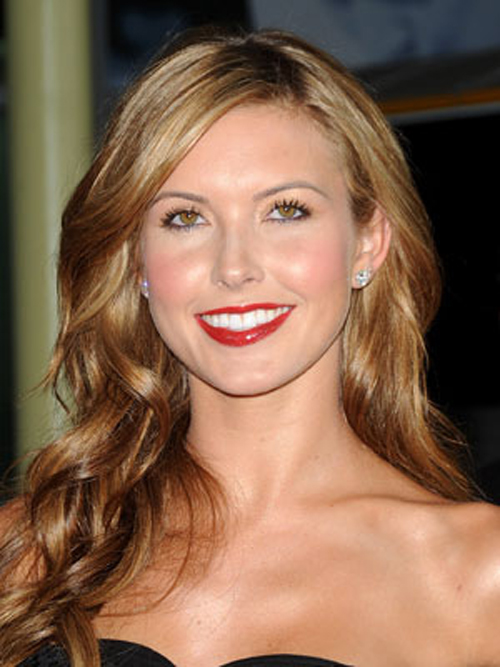 Audrina Patridge's smooth-on-top strands hairstyles flare gently outward throughout her length.