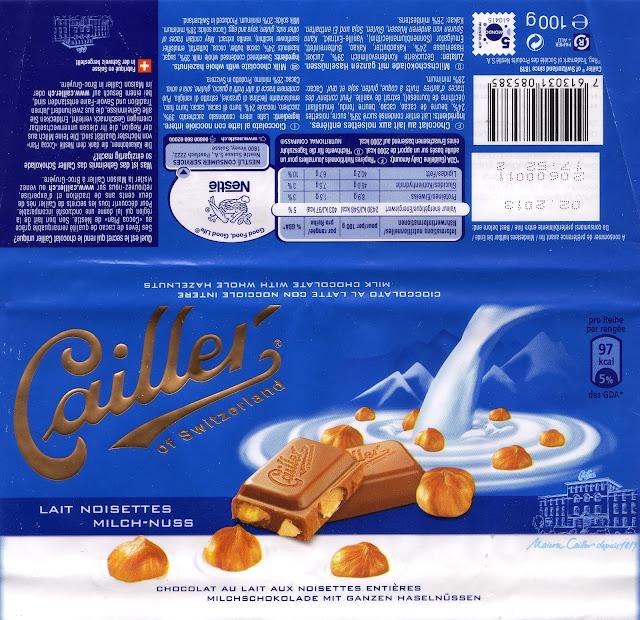 tablette de chocolat lait gourmand cailler lait noisettes