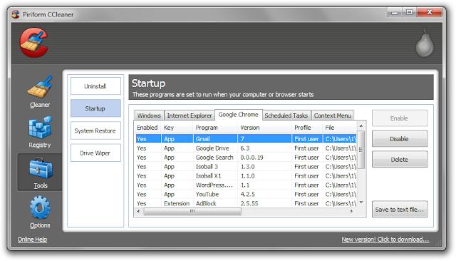 Ccleaner startup screen shot