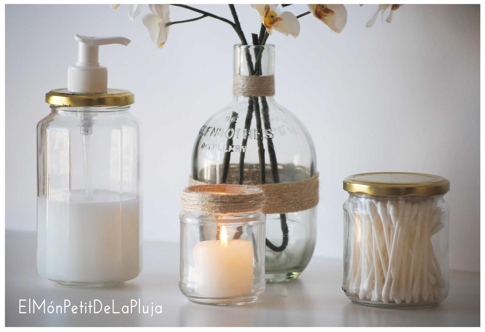 Baño Ideas Decoracion:manualidad de tarros de cristal reciclados convertidos en set de baño