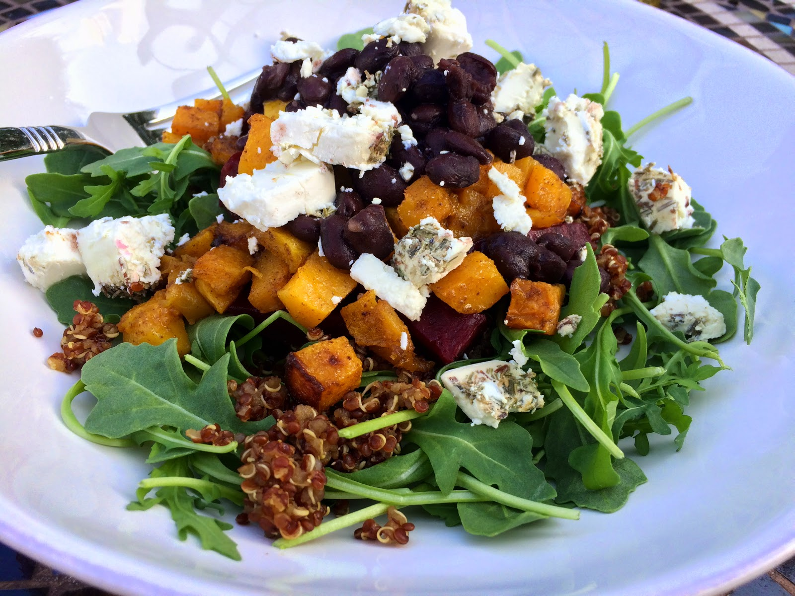 Arugula Salad with Beets, Black Beans, and Butternut Squash from Food Therapy
