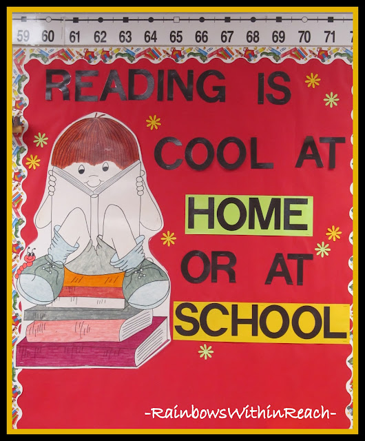 photo of: Bulletin Board: Reading is Cool at Home or at School (Back to School Bulletin Board RoundUP via RainbowsWIthinReach)