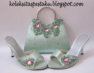 Sepaket tas pesta dan sepatu mint tosca muda siap ke acara pernikahan dan cantik