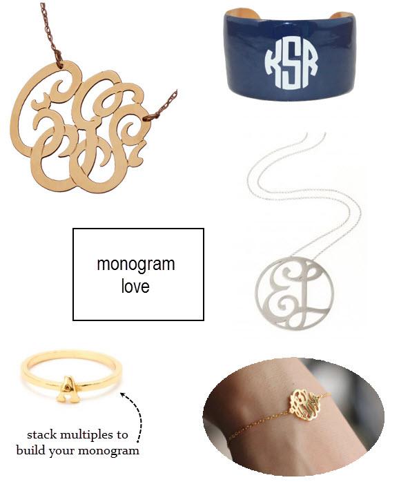 monogram bracelet, monogram ring, monogram cuff, monogram necklace