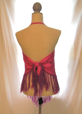 pink top scarf blouse lace embroidery embellished girl's tank halter top