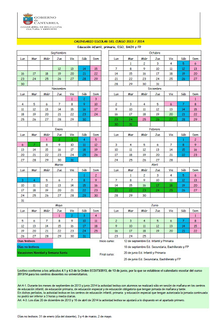 calendario escolar 2013 2014 cantabria para descargar el calendario ...
