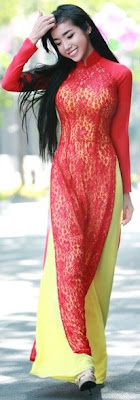 Elly Tran Ha with her long red and yellow gown