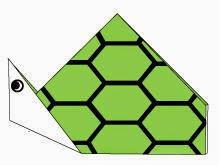 Bước 5: Vẽ mắt, mai để hoàn thành cách xếp con rùa bằng giấy đơn giản.