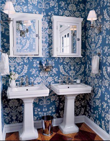 Bathroom Wallpaper Pedestal Sink Mirror Tile Floor Marble Trellis Pattern Chic Mural Frog Hill