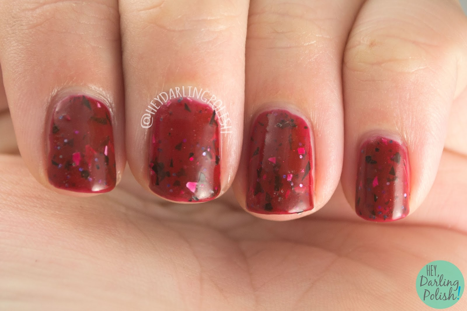 hold on to your butts, jurassic park, red, nails, nail polish, indie polish, indie nail polish, lucky 13 lacquer, hey darling polish, giveaway,