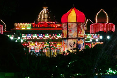 Beautiful decorations and lights at Rangeel Mahal ashram, Barsana Dham