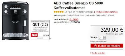 AEG Caffe Silenzio CS 5000 bei MeinPaket über das Wochenende für 296,10 Euro inklusive Versand