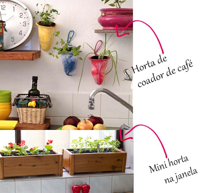 mini jardim de temperos : mini jardim de temperos:Plantando em caixas de madeira e em coadores de café