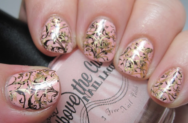 Genevieve with shadow stamping in black and gold