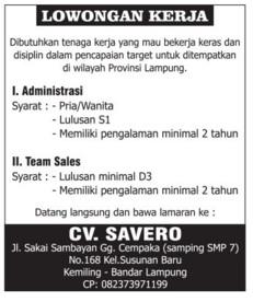 Karir Kerja di Lampung - CV. SAVERO