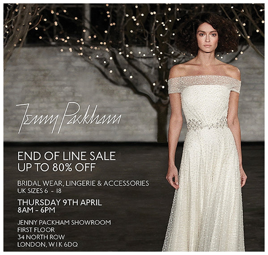 Sample sales for Jenny packham sale wedding dresses