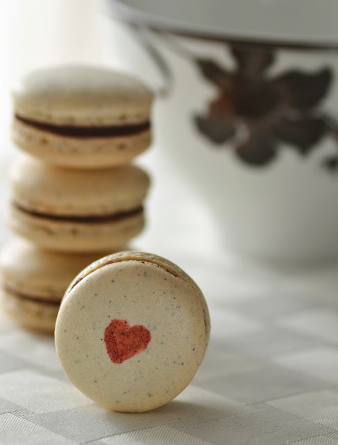 Black Sesame & Red Bean Macarons
