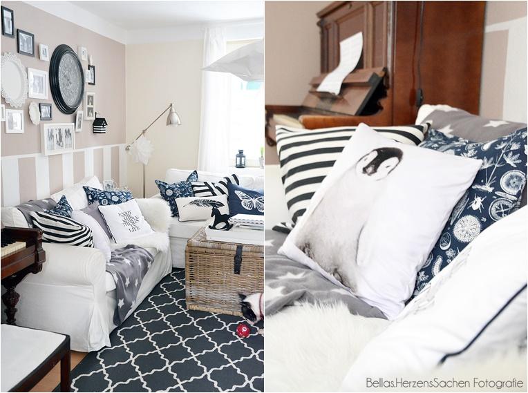 Wohnzimmer schwarz weiß Ikea Bellas Herzenssachen