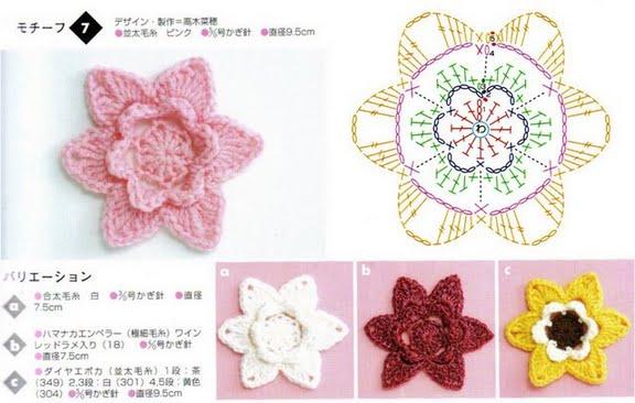 TRICO y CROCHET-madona-mía: Flores con patrones-