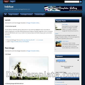 Inblue blogger template. template blogspot blue color for blogger
