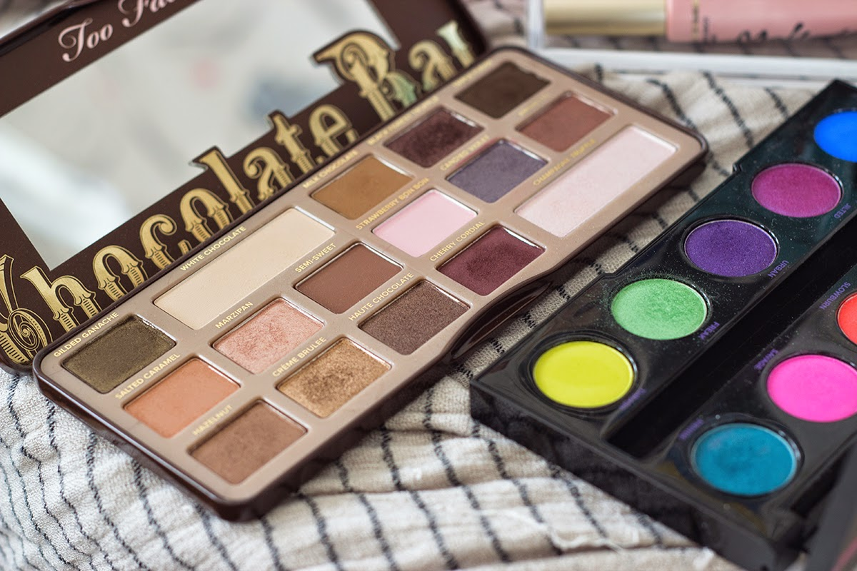 february favorites - too faced chocolate bar palette, urban decay electric palette