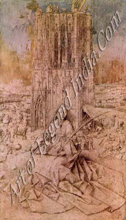 St Barbara (1437), This exquisite brush drawing shows the saint sitting in front of her tower. Although some experts consider this an unfinished work, the extraordinary detail suggests it was never meant to be painted.