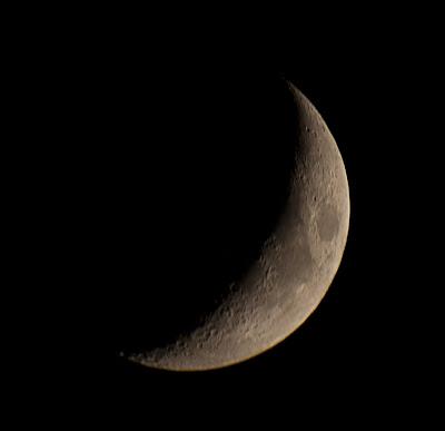 Crescent moon at prime focus