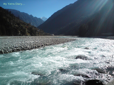 Green waters of the River Ganga in Harsil, Himalayas
