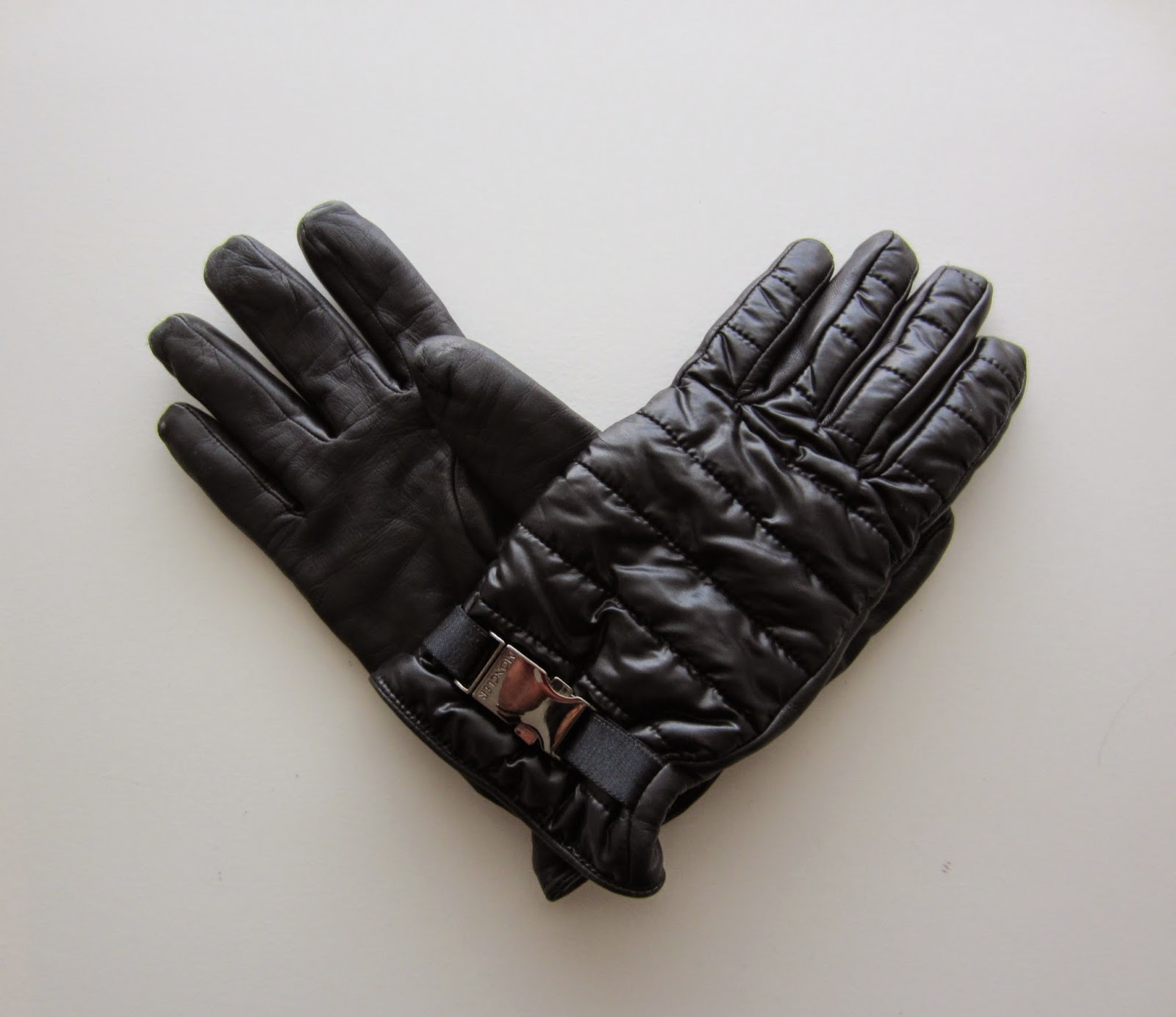 Moncler Black Leather & Quilted Gloves