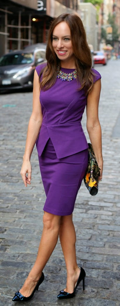 Peplum Chic Dress with Gorgeous Necklace and Black Pumps | Street Chic