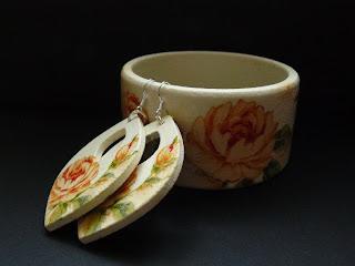 biżuteria decoupage - kremowe kwiaty (komplet)