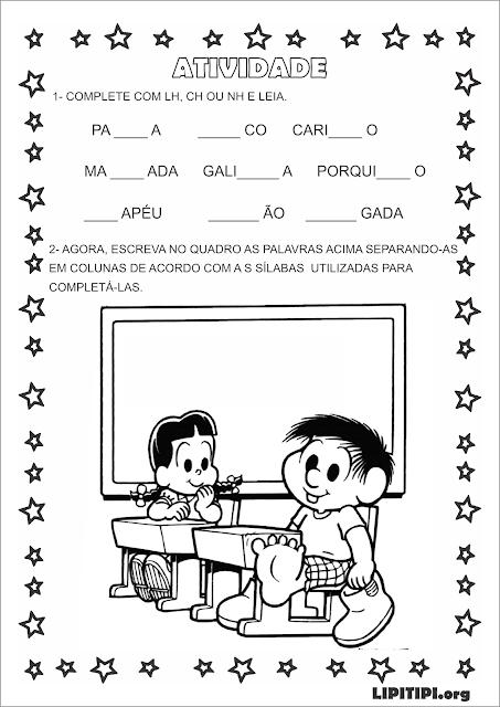 Atividade Silabas complexas  CH, LH, NH