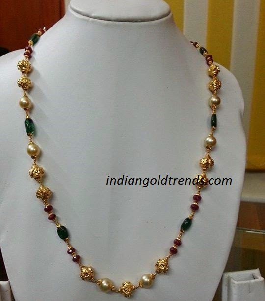 Colorful Bead Necklace Necklace With Gold Beads