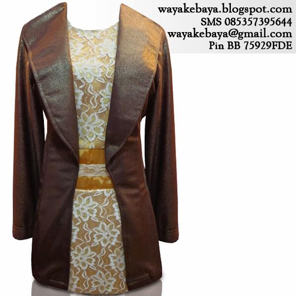 Kebaya Gamis Blazer Brokat Modern Emas Kopi 2