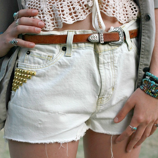 DIY studded bleached cutoff shorts