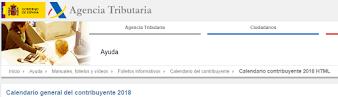 Calendario del Contribuyente 2018