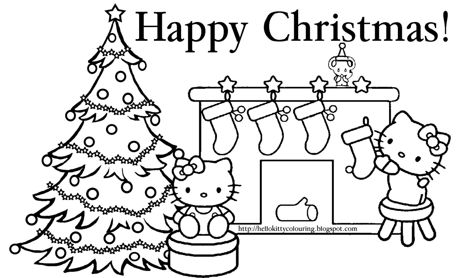 happy christmas coloring page hello kitty - Kitty Coloring Pages