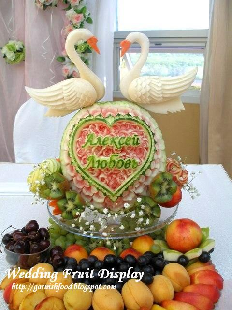 swan fruit carving display for wedding